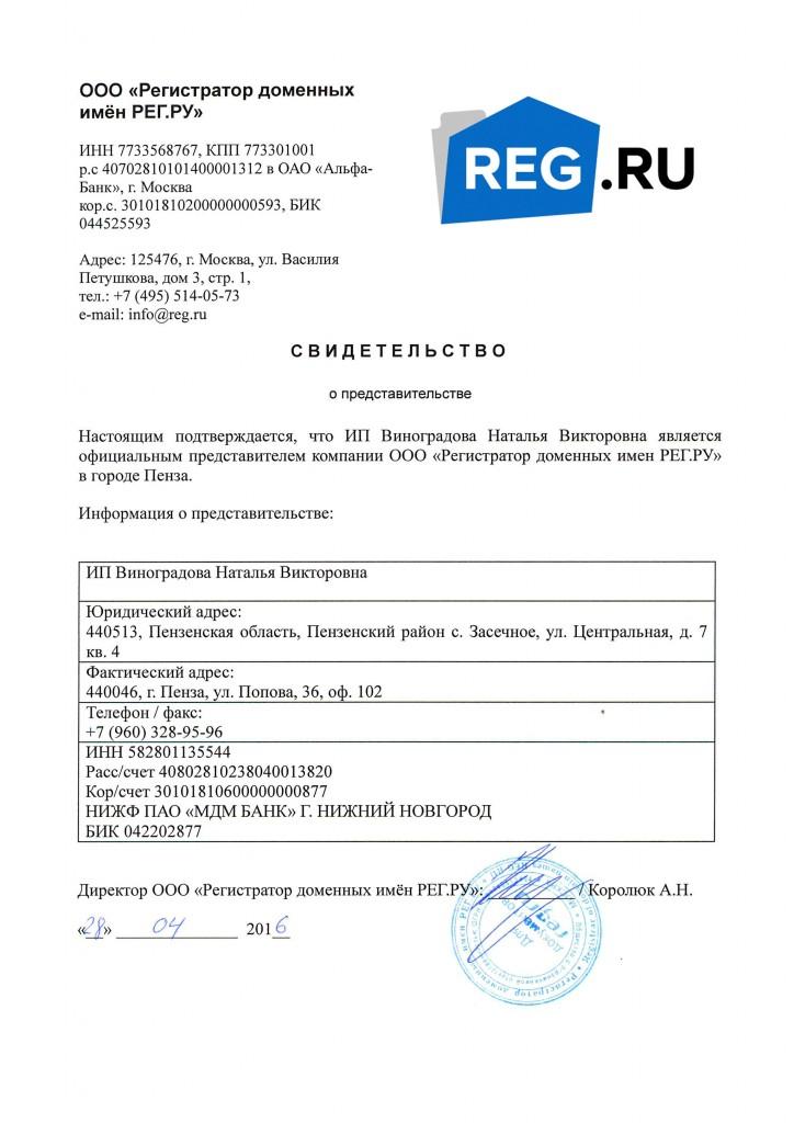 Регистрация, перенос, смена администратора доменов (официальный представитель REG.RU в Пензе)
